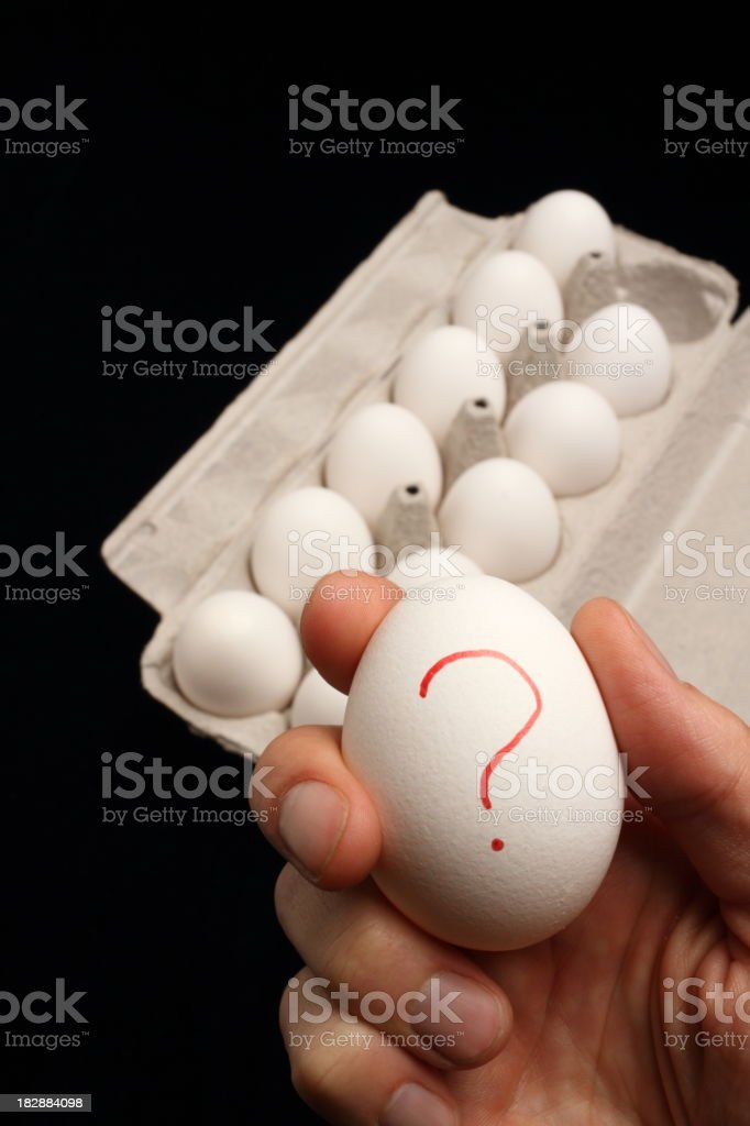 Hand Holding Salmonella Egg Closer royalty-free stock photo