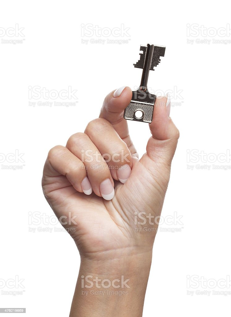 Hand holding security key o white royalty-free stock photo