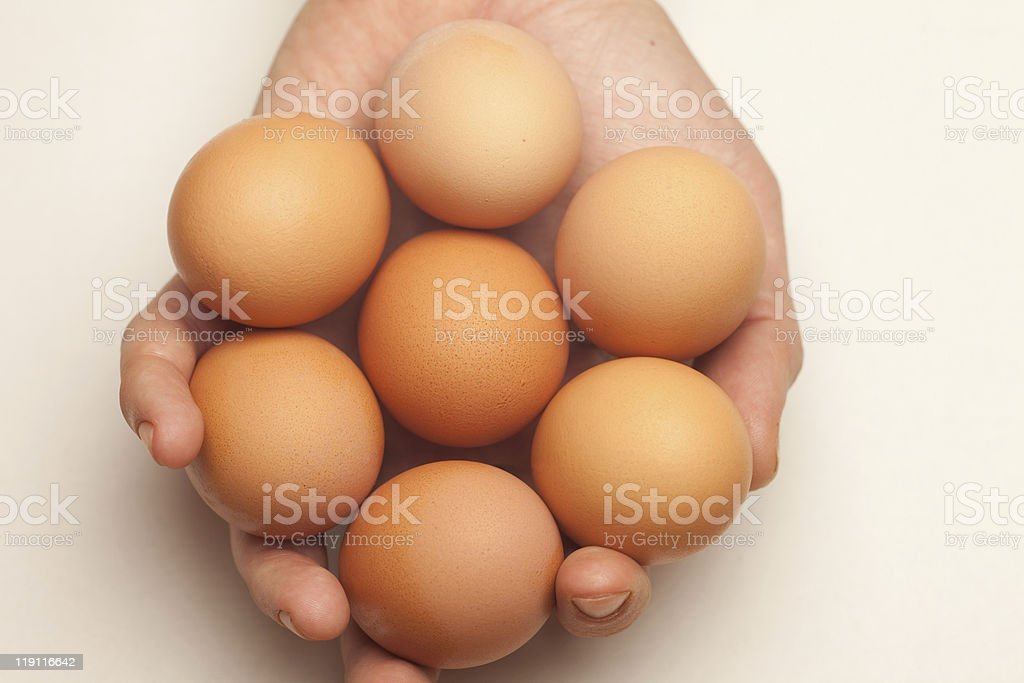 Hand holding seven eggs royalty-free stock photo
