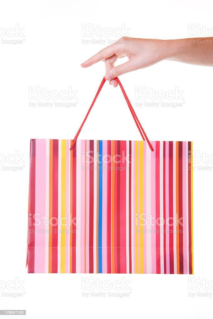 Hand Holding Shopping Bag Isoated royalty-free stock photo