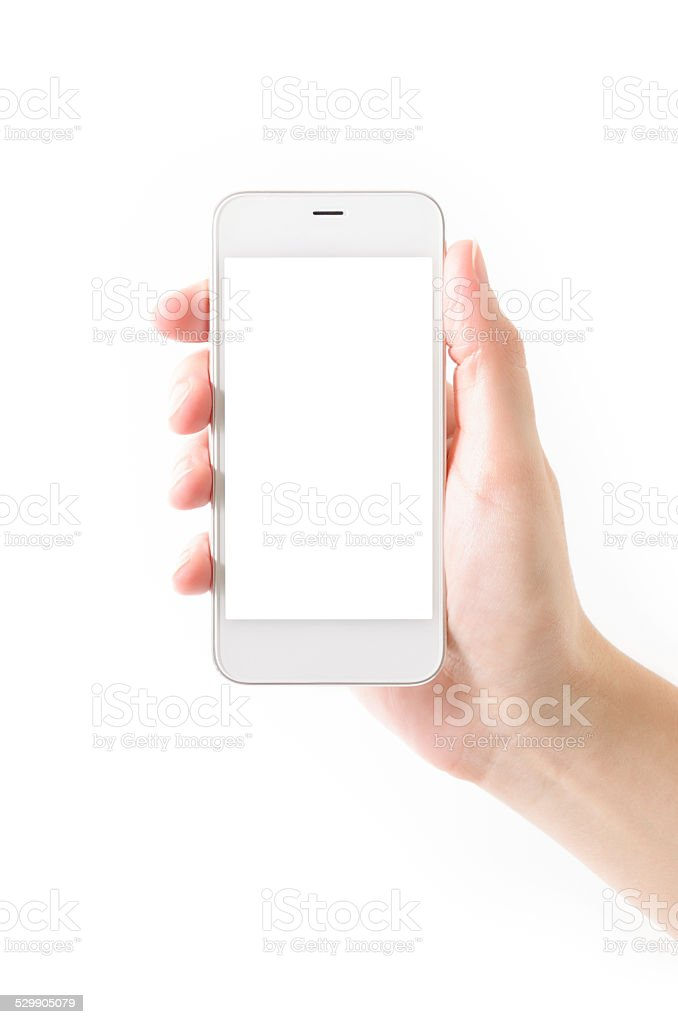 Hand Holding Silver smart Phone with Blank Screen stock photo