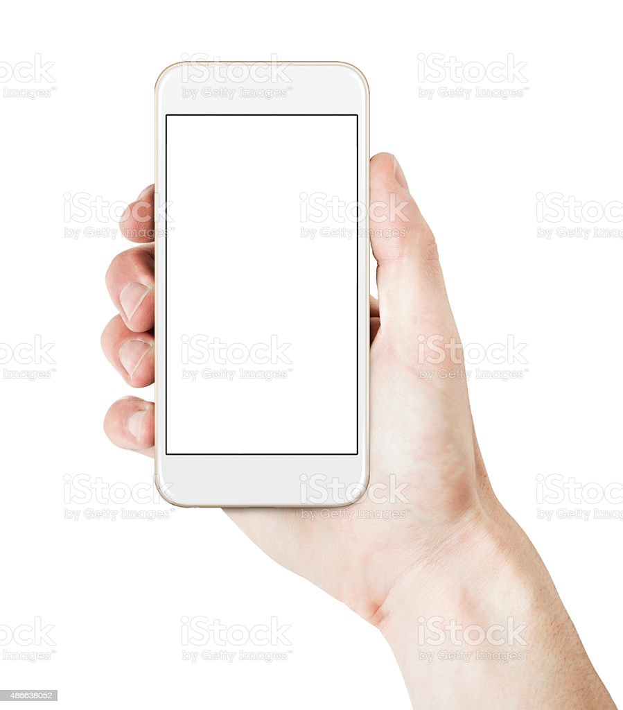 Hand holding smart phone - Gold/White color stock photo