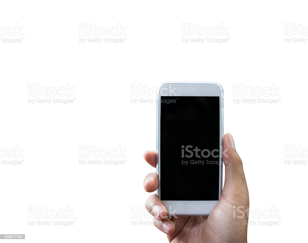 Hand holding smart phone isolated over white stock photo