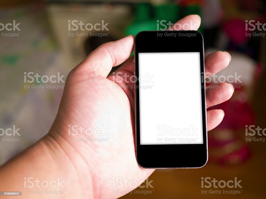 Hand holding smart phone royalty-free stock photo