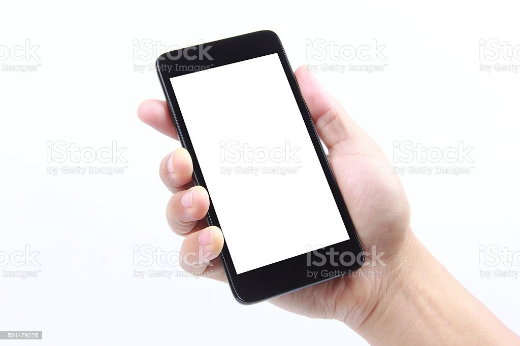 Hand holding smart phone stock photo