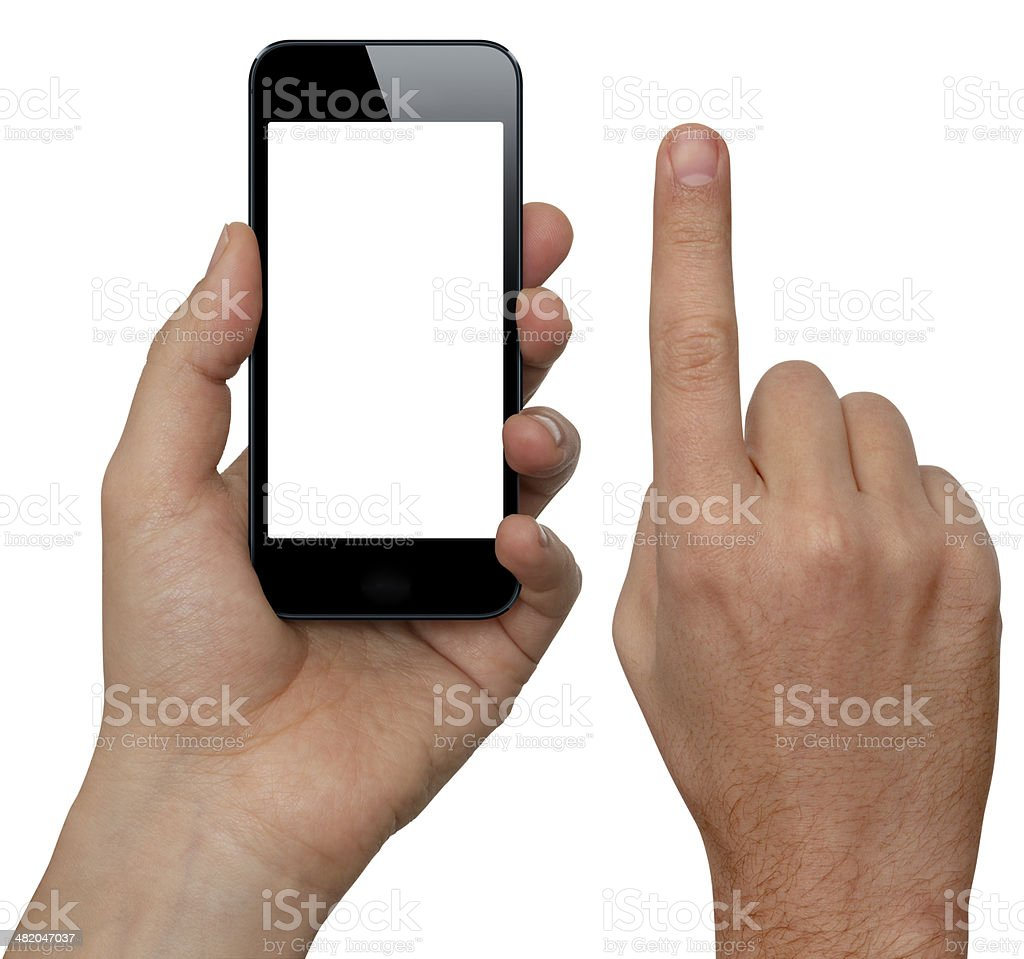 Hand Holding Smart Phone With Two Clipping Paths stock photo
