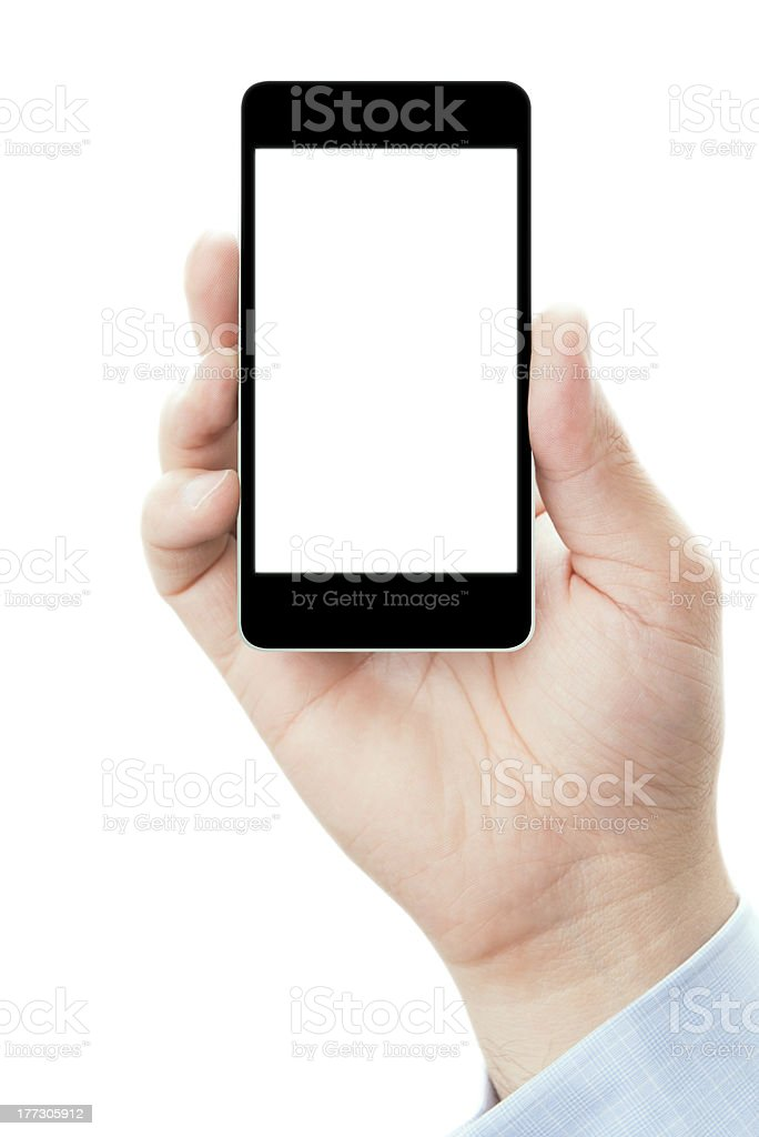 Hand holding smartphone in vertical position royalty-free stock photo