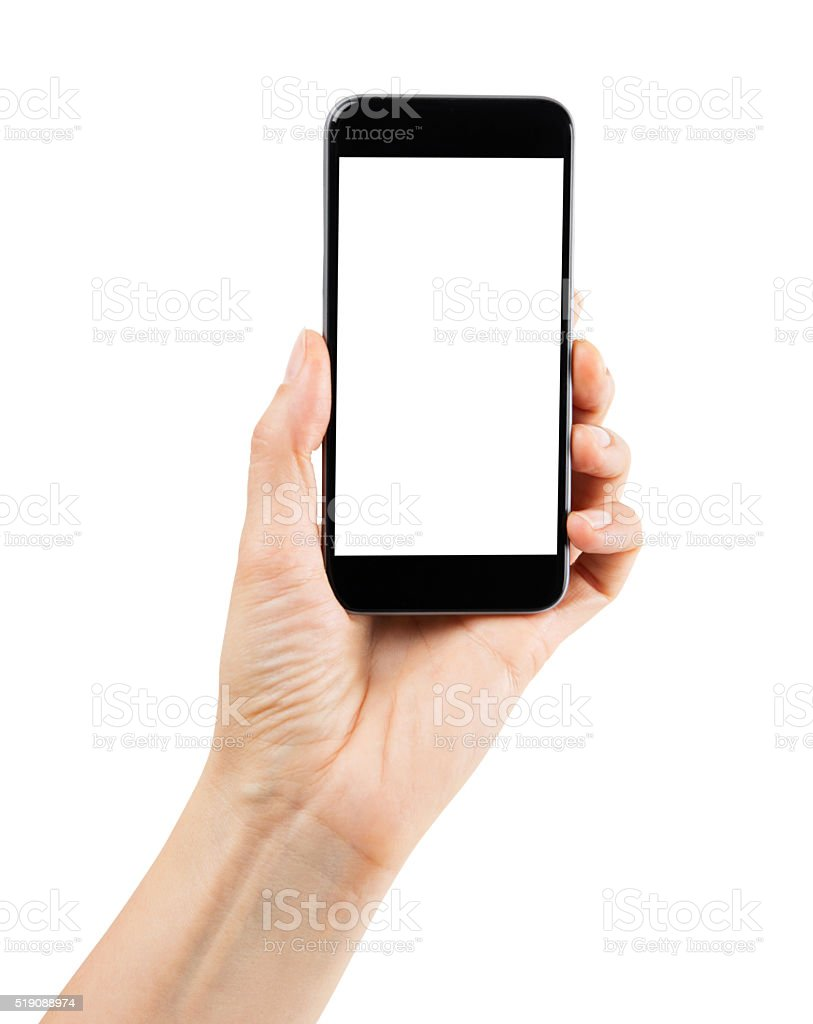 hand holding smartphone, with clipping path stock photo