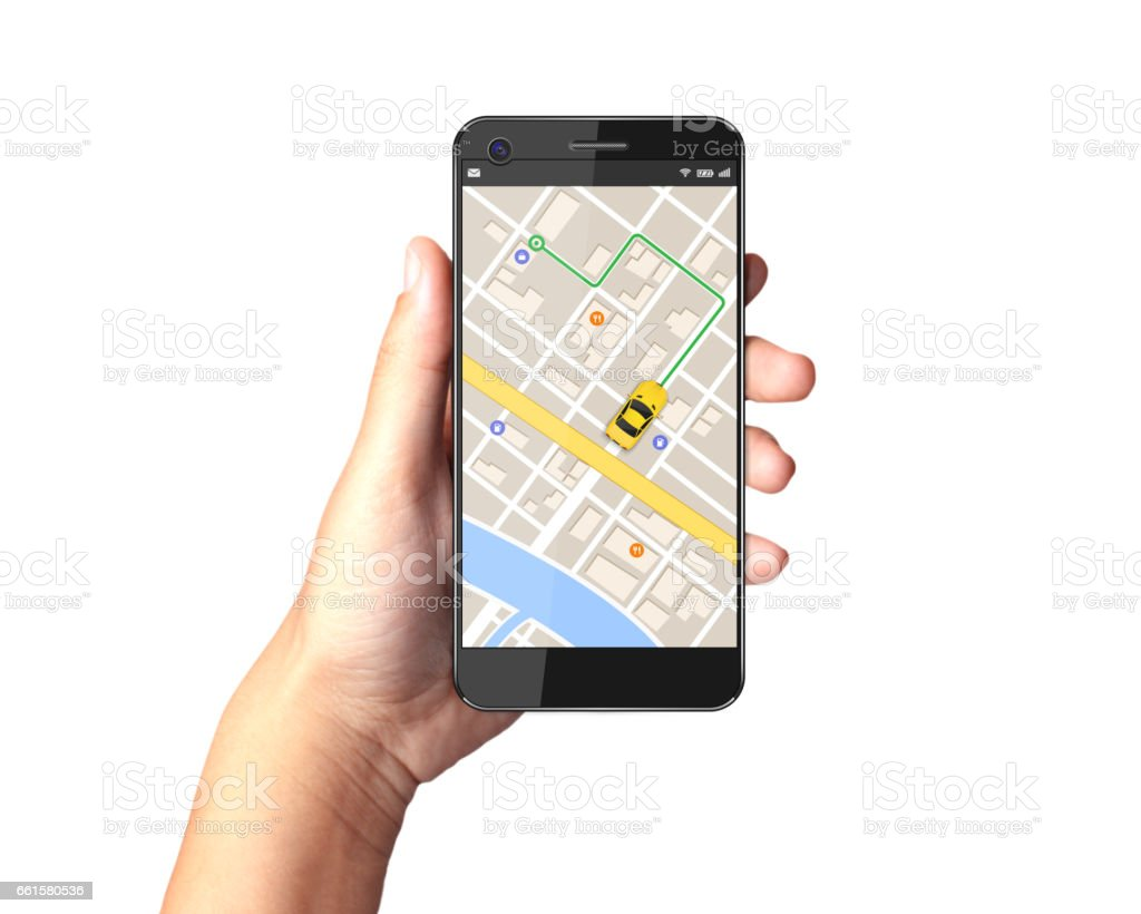 Hand holding Smartphone with gps navigator map on display. stock photo