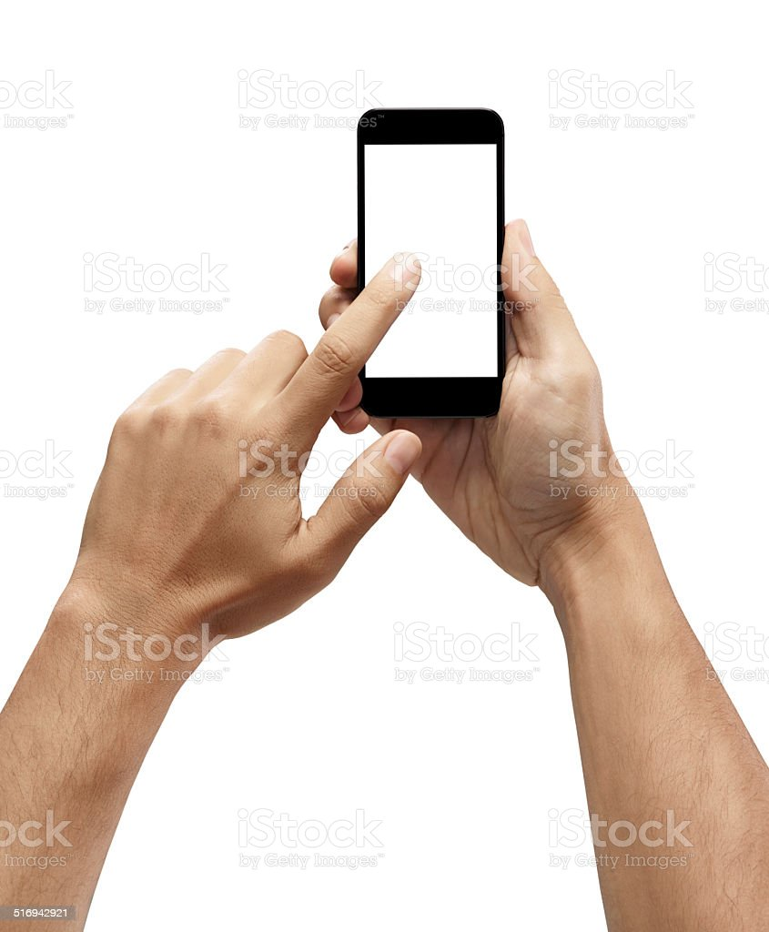 Hand holding smartphone with index finger touching the screen stock photo