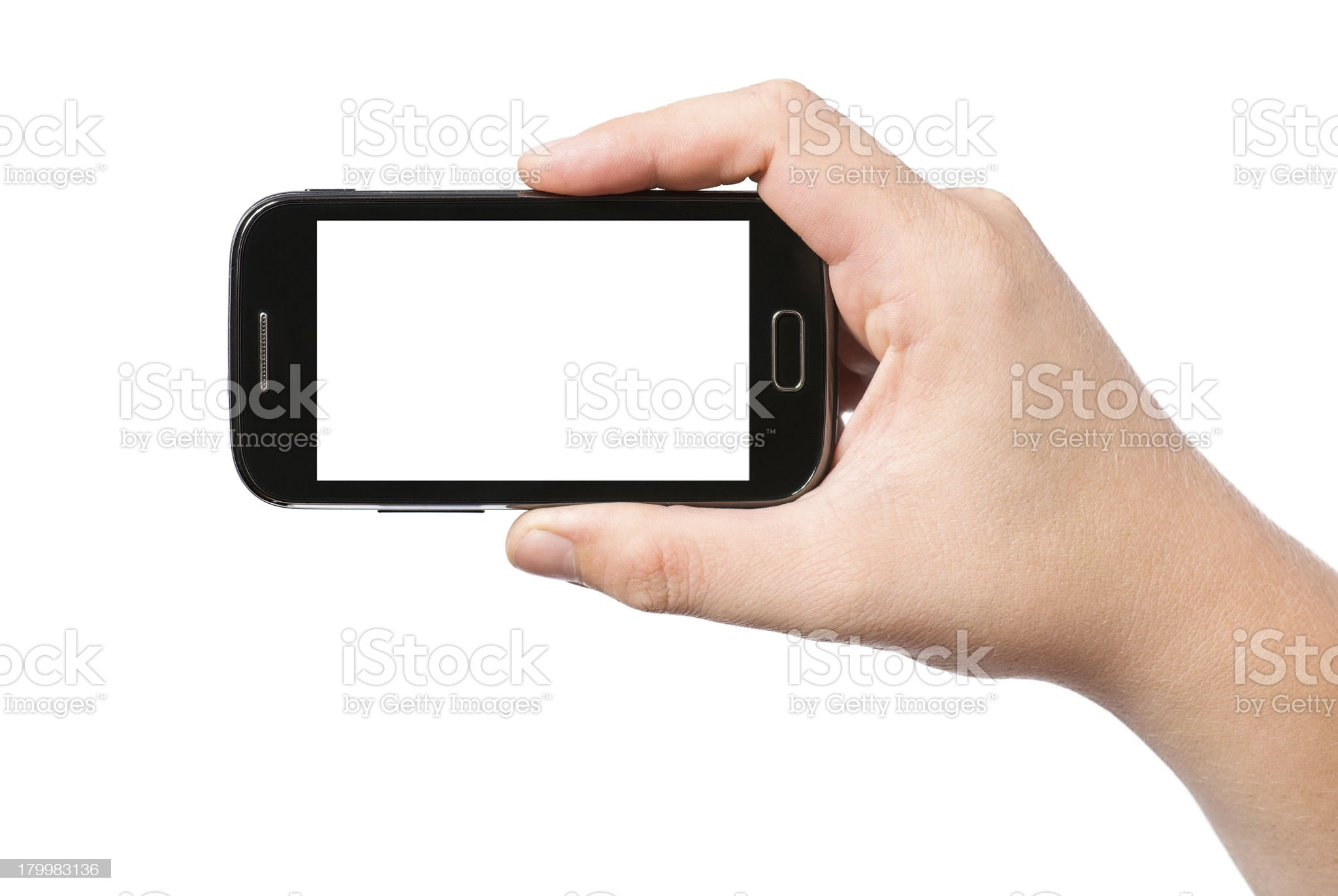Hand holding smartphone with white screen royalty-free stock photo