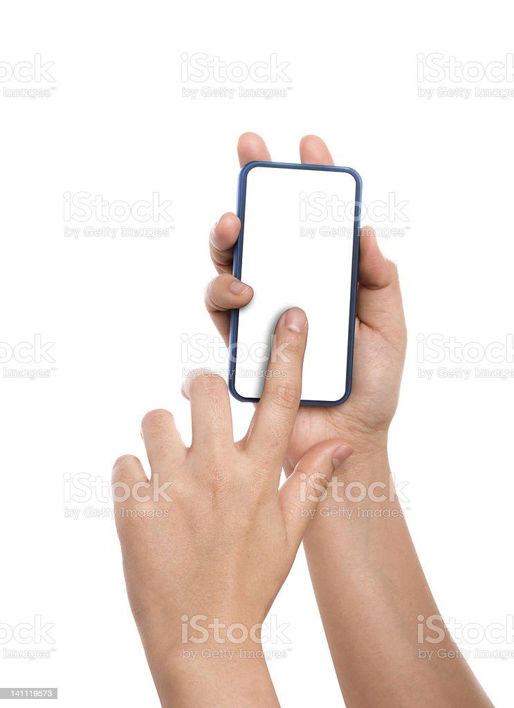 Hand holding Smartphones stock photo