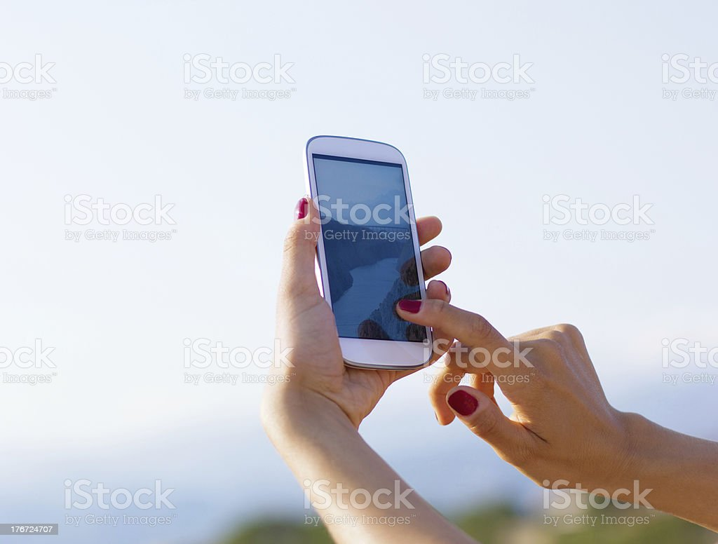 Hand holding Smartphones royalty-free stock photo