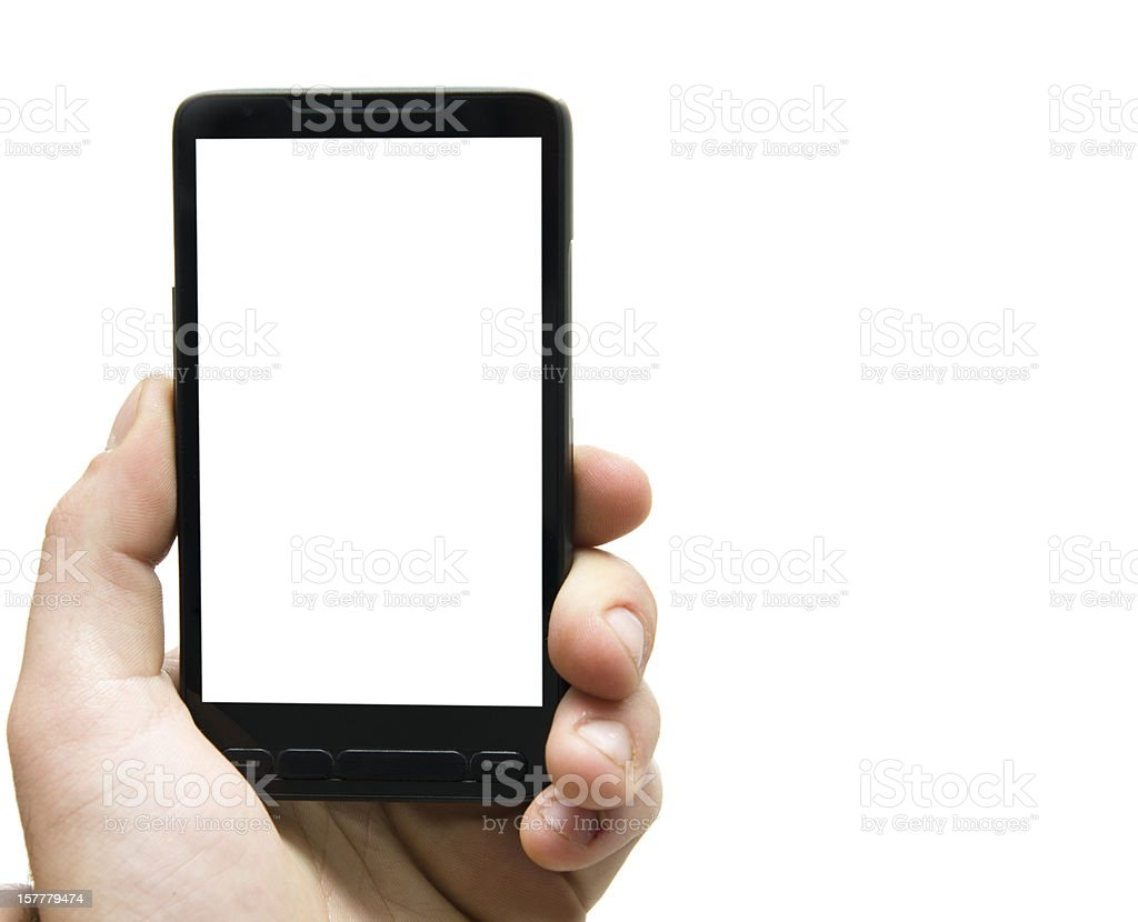Hand holding Smartphones with Blank Screen royalty-free stock photo