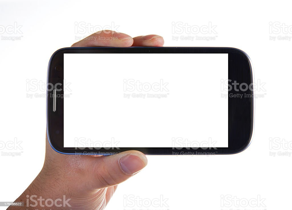 Hand holding Smartphones with Blank Screen stock photo