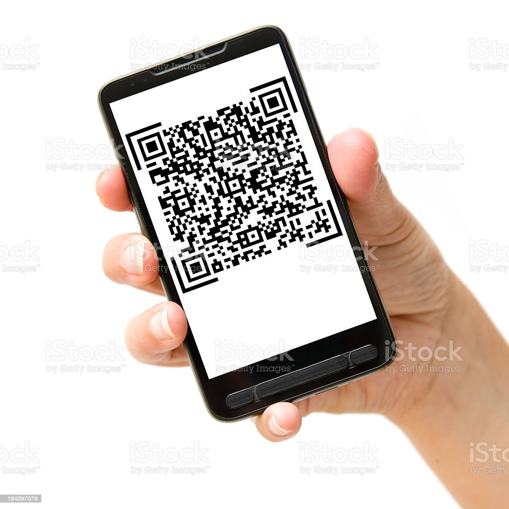 Hand holding Smartphones with QR code stock photo