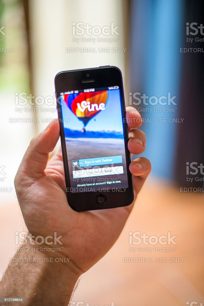 Hand holding Smartphones with vine app stock photo
