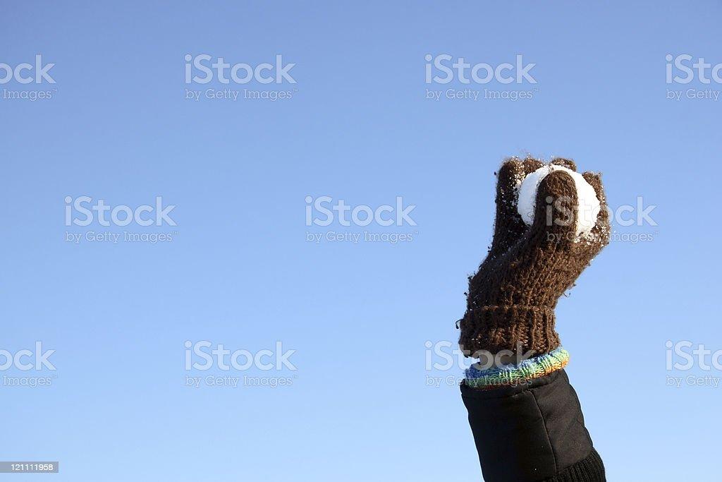hand holding snow ball royalty-free stock photo