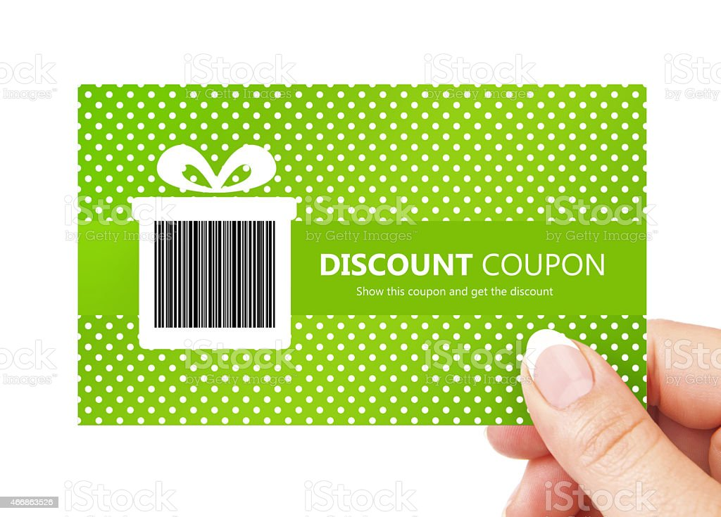 hand holding spring discount card isolated over white stock photo