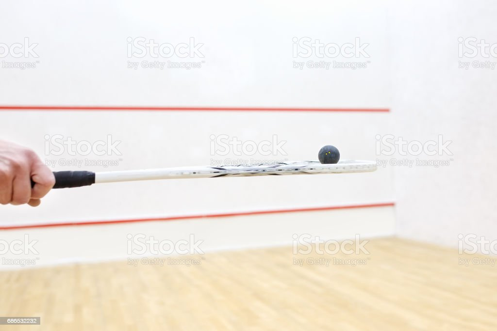 hand holding squash racket and ball stock photo