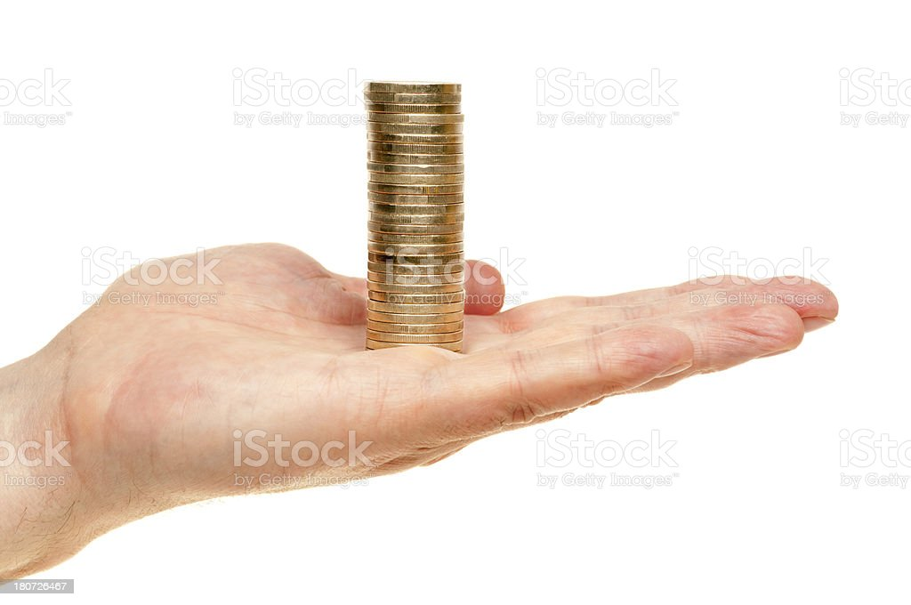 Hand holding stack of Euro coins royalty-free stock photo