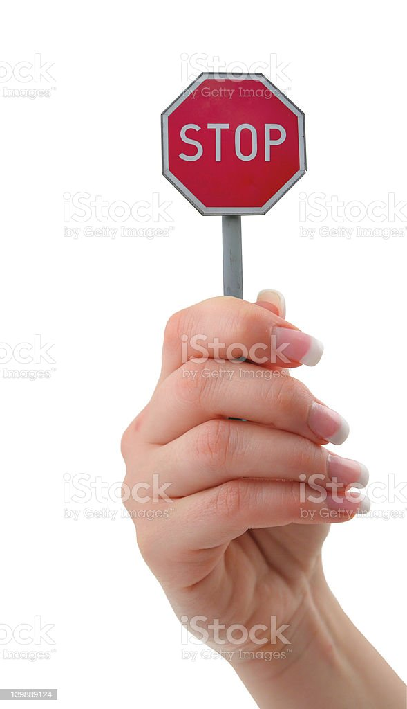 hand holding stop sign royalty-free stock photo