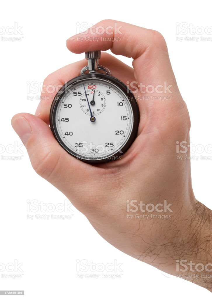 Hand holding stopwatch on white background royalty-free stock photo