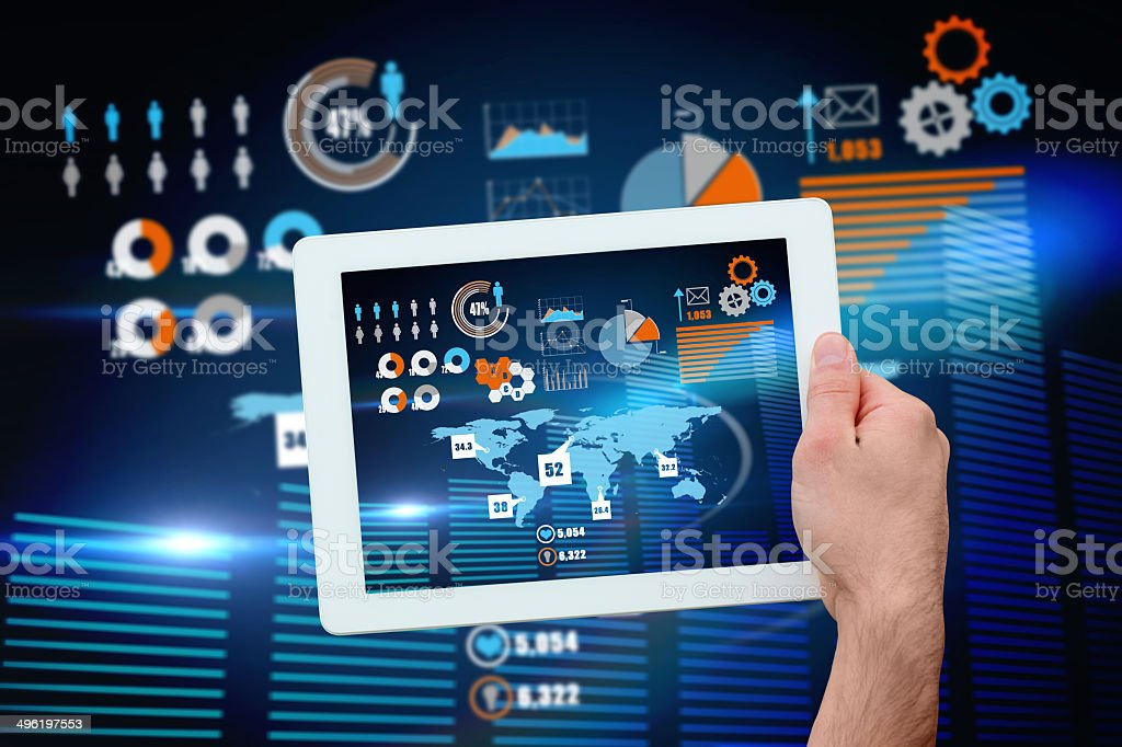 Hand holding tablet pc showing business interface royalty-free stock photo