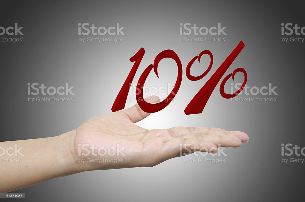 Hand holding the discount information stock photo