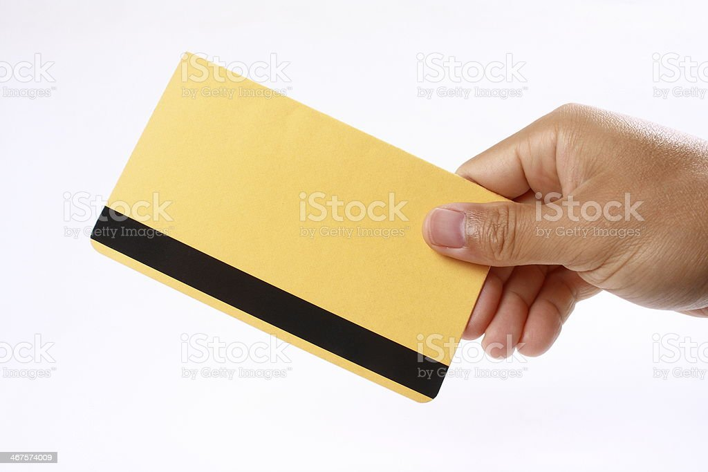 Hand holding the passbook stock photo