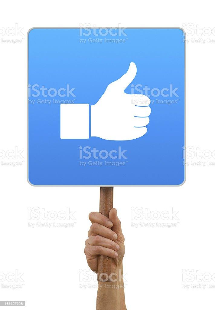 Hand holding thumb up icon royalty-free stock photo