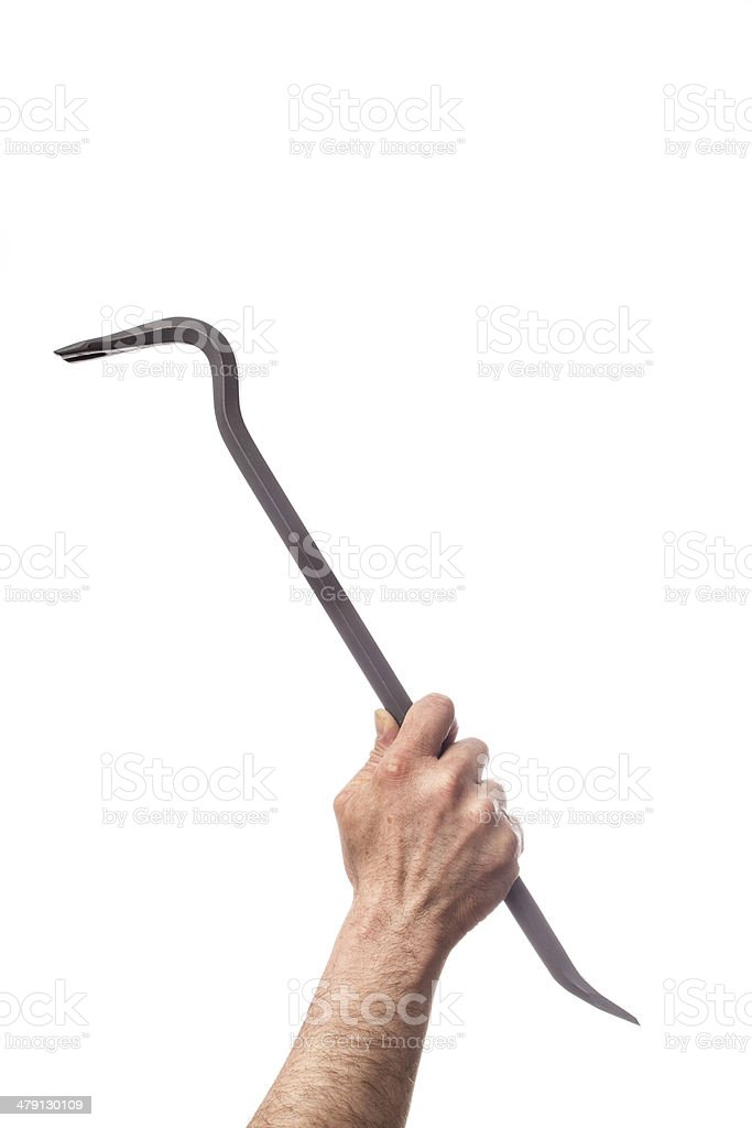 Hand holding tools: Crowbar stock photo
