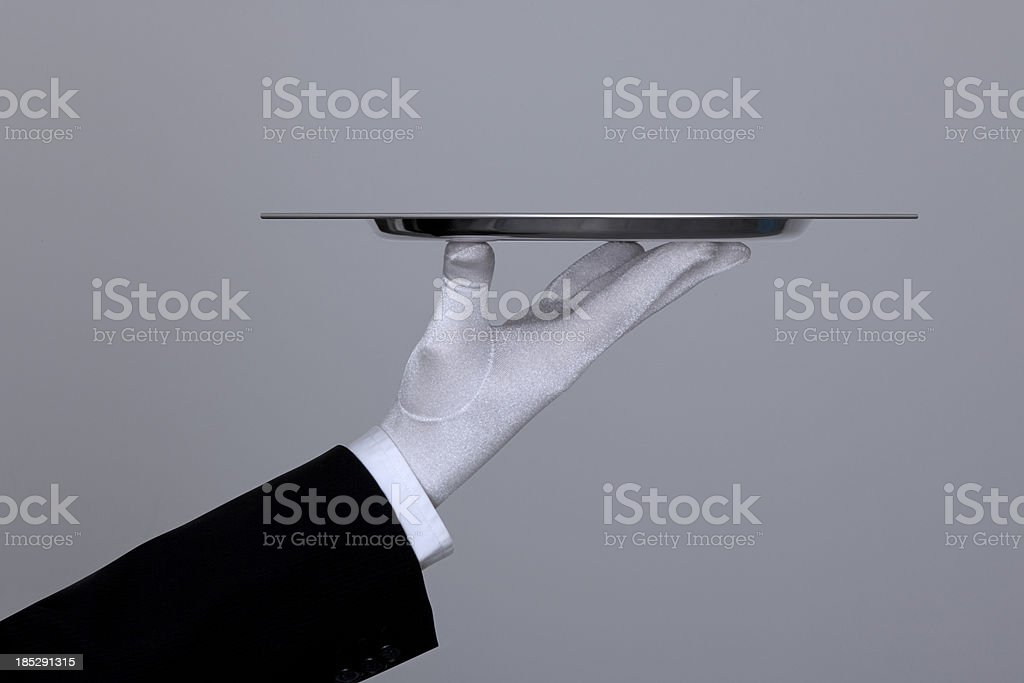 Hand Holding Tray With Clipping Path stock photo