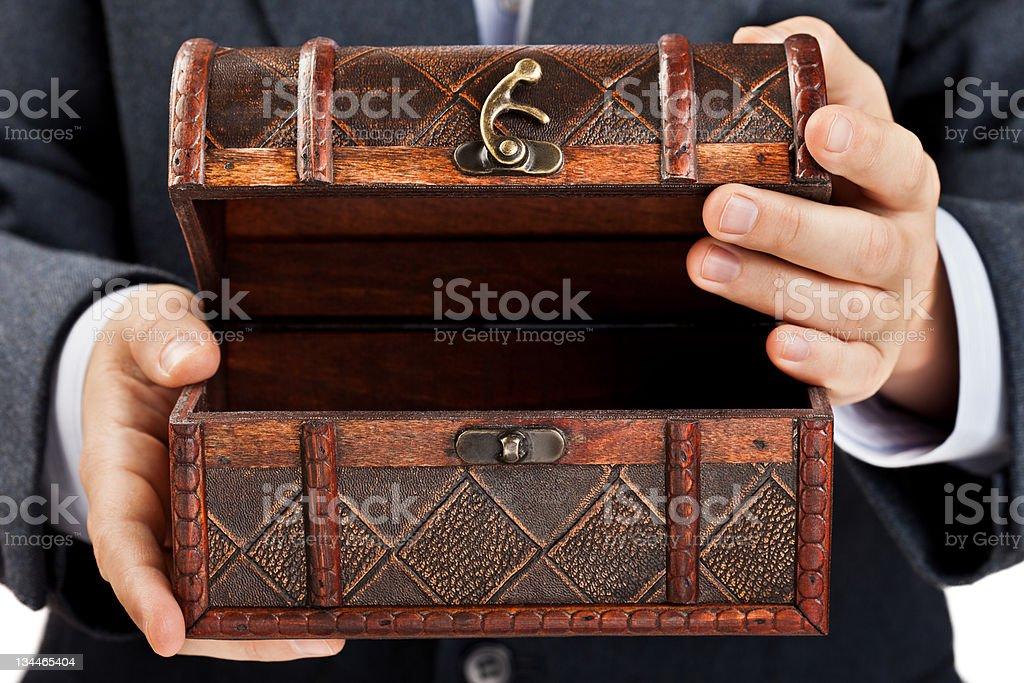 Hand holding treasure chest stock photo