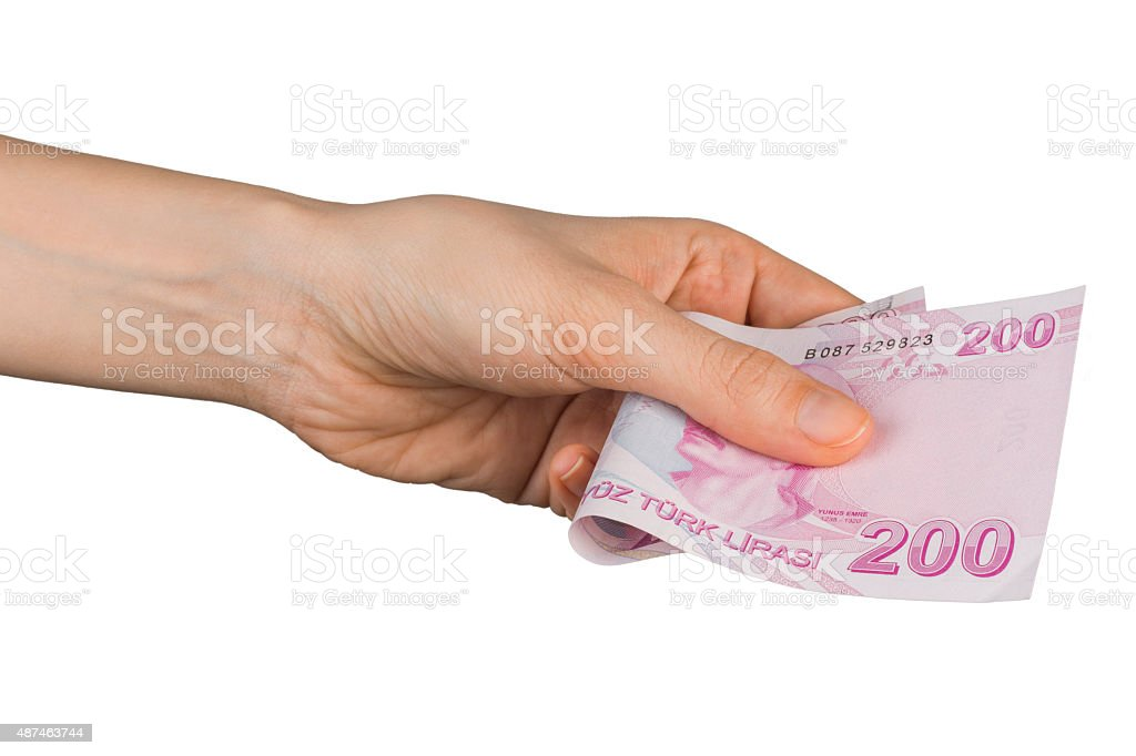 Hand Holding Two Hundred Turkish Lira Banknote stock photo