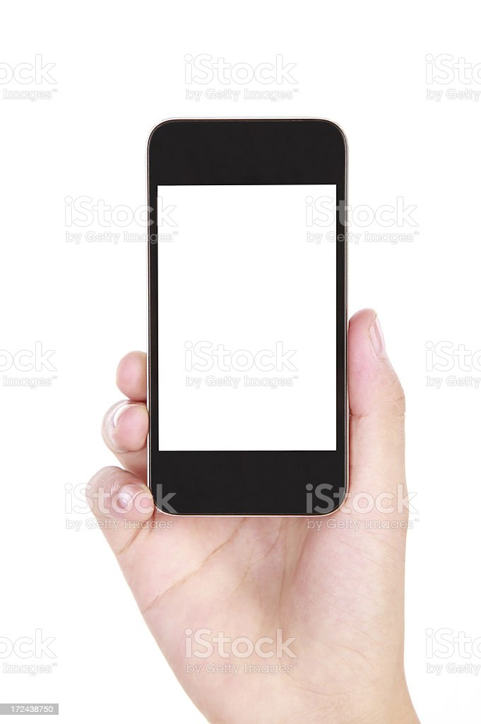 Hand holding up a smartphone with white screen royalty-free stock photo