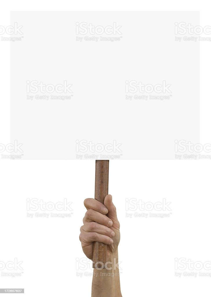 A hand holding up an blank placard stock photo