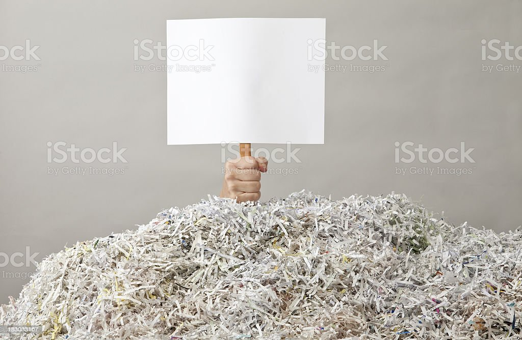 Hand holding up Blank Sign under Mountain of Shredded Paper stock photo