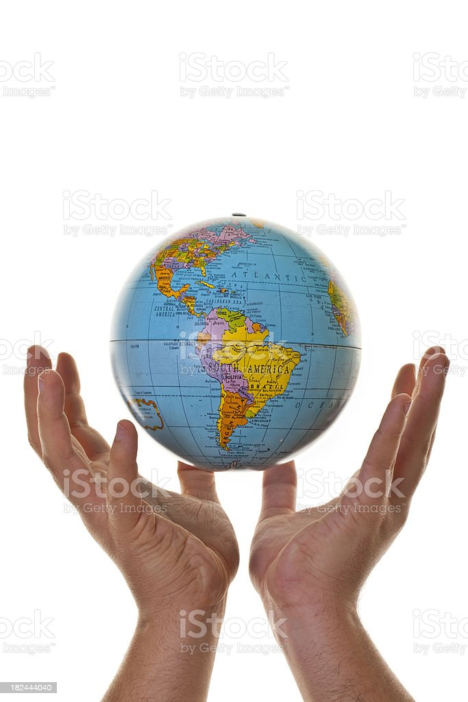 Hand holding up globe royalty-free stock photo