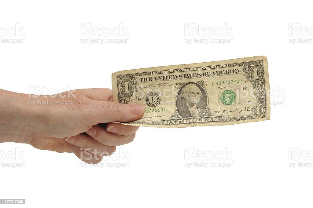 Hand holding US dollar stock photo