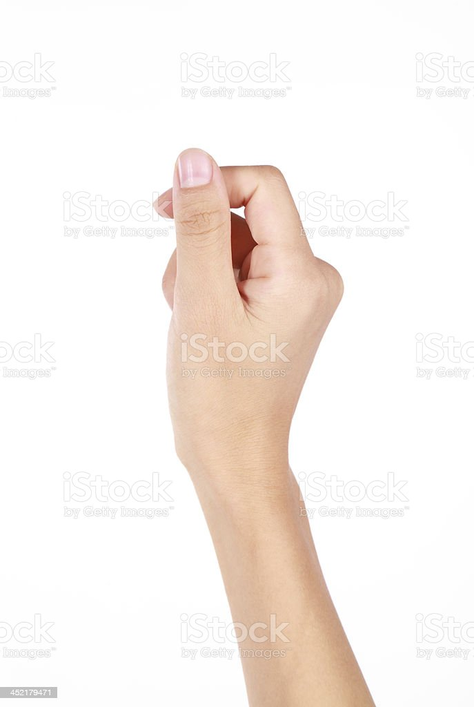 Hand holding virtual card gesture on white background stock photo