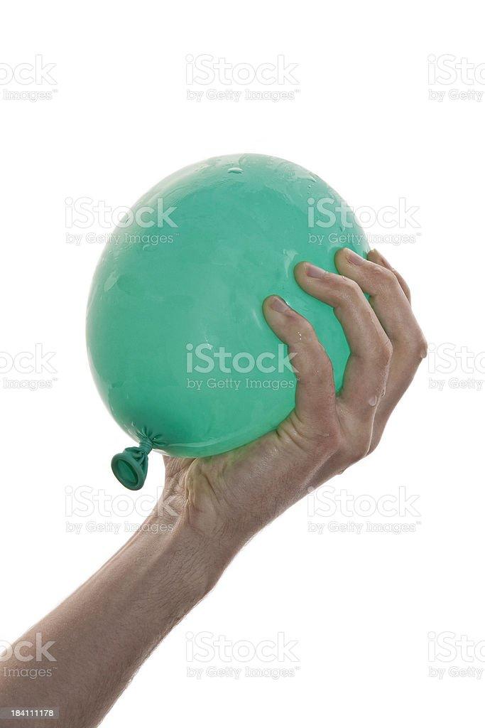 Hand  holding Water Balloon stock photo