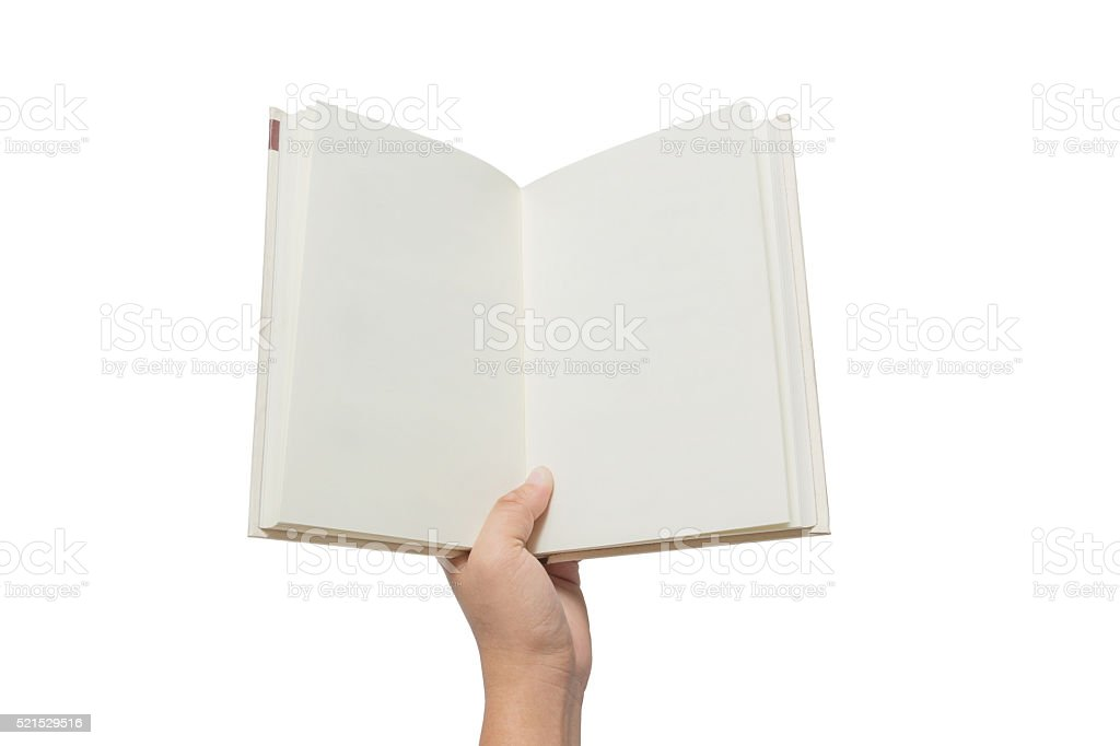 Hand holding white book isolated on white stock photo