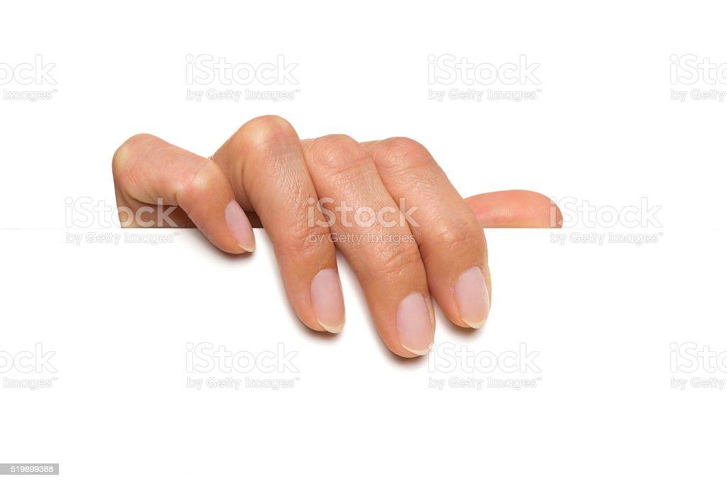 Hand Holding White Empty Sheet stock photo