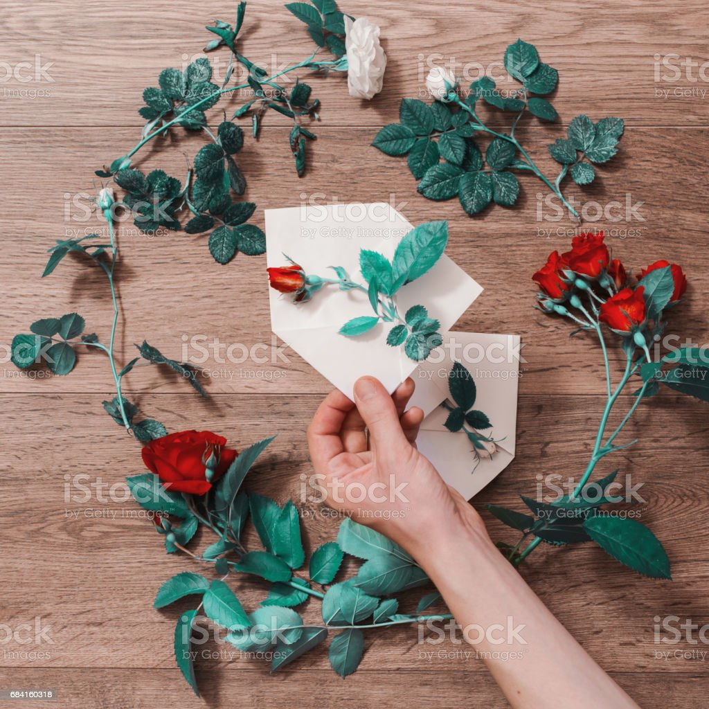 Hand holding white envelope. Envelope and a white and red rose. Greeting card. Conceptual photography. Wedding invitation card. Valentine day. Flat lay, top view, copyspace stock photo
