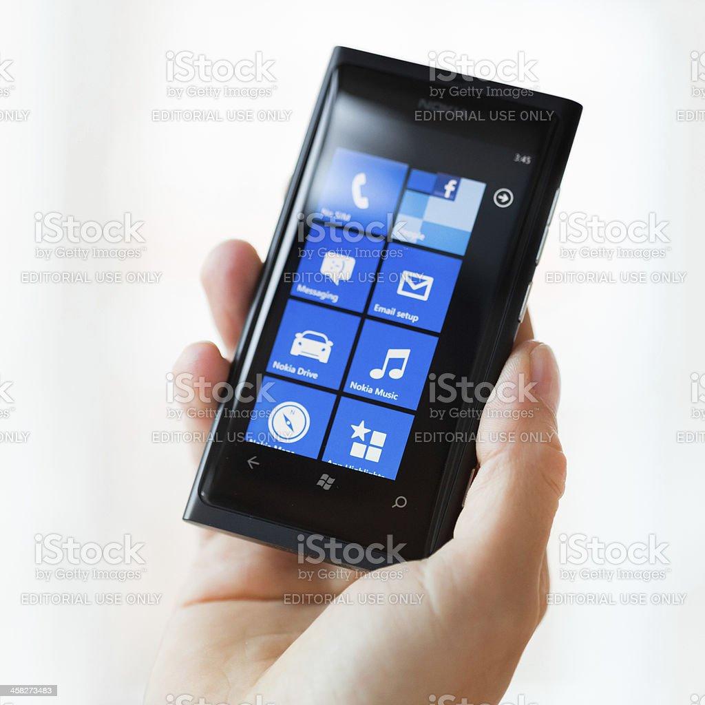 Hand holding Windows Smart Phone stock photo