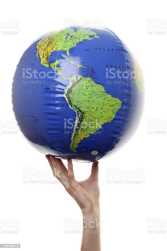 Hand holding world globe royalty-free stock photo