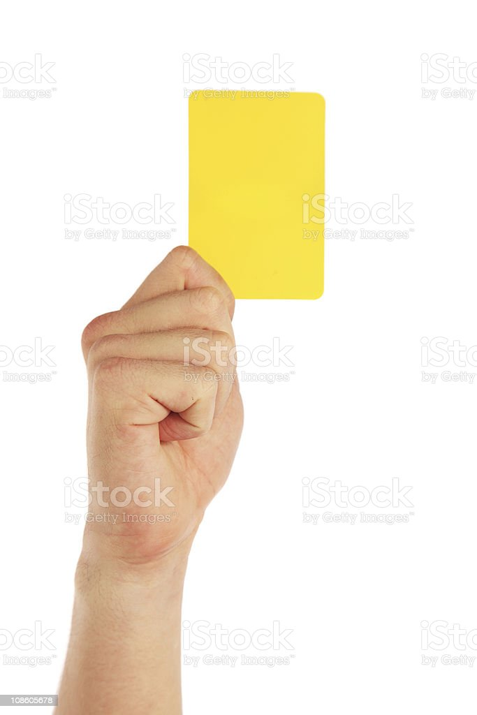 Hand holding yellow card stock photo