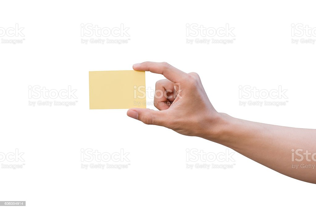 Hand holding yellow paper isolated on white stock photo