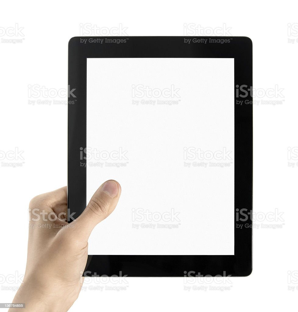Hand holds a tablet computer on a white background royalty-free stock photo